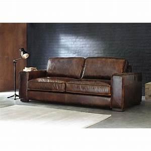 canape vintage 3 places en cuir marron mdm indus With tapis de yoga avec ikea canapé cuir 3 places
