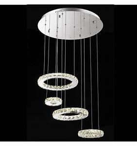 Lustre Cristal Moderne : lustre cristal led 4 anneaux ~ Teatrodelosmanantiales.com Idées de Décoration