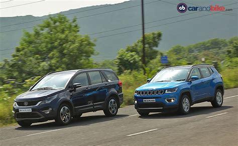 jeep tata jeep compass vs tata hexa comparison review ndtv carandbike