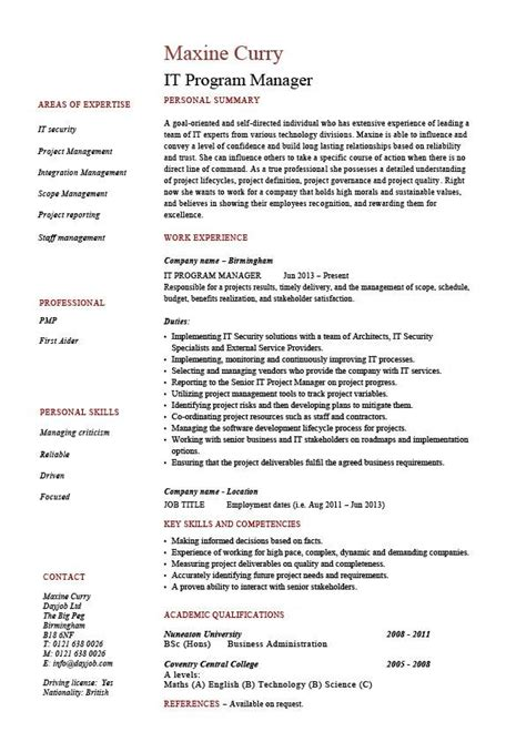 Asp Net Project Description In Resume by It Program Manager Resume Sle Cv Description