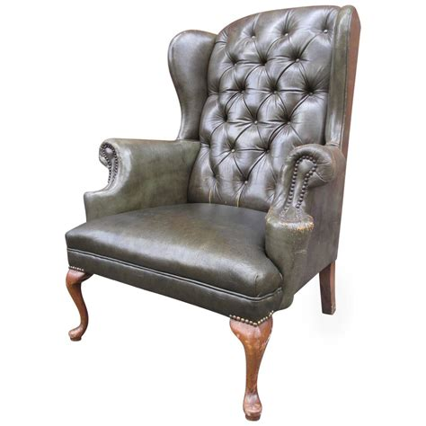 wingback chair tufted leather wingback chair at 1stdibs