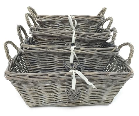 kitchen basket storage white grey shabby chic wicker kitchen fruit rectangle 2293