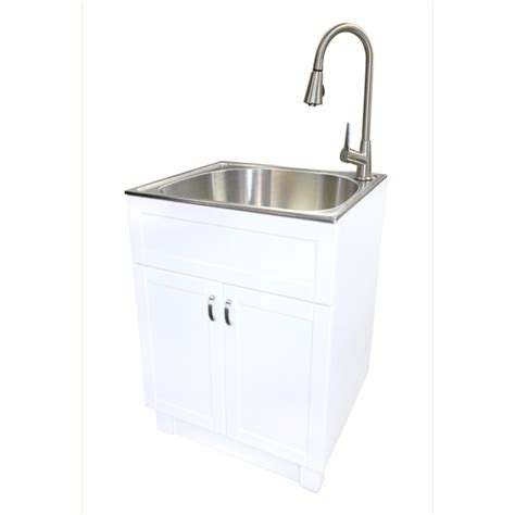 stainless steel laundry room sink shop transform white cabinet with sink and faucet