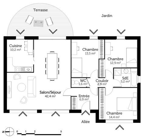 plan maison 100m2 4 chambres gallery of plan maison m with plan maison 100m2 4 chambres