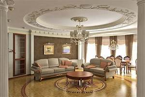 Classy Living Room With Crown Moldings On The Ceiling