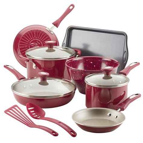 pans pots ray rachael cookware cooking burgundy piece walmart nonstick sets