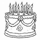 Coloring Birthday Cake Cakes Printable Drawing Cartoon sketch template