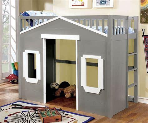 eileen twin loft bed gray  white  furniture