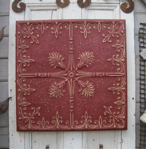Antique Pressed Tin Framed Tin Ceiling Tile By