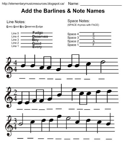 Students and teachers, musicians, and composers: Daily Edit: Add Barlines & Note Names | Elementary music class