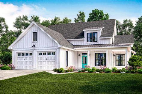 exclusive modern farmhouse plan  flexible upstairs hz architectural designs house