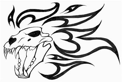 Skull Dragon Lion Tattoo Evil Drawings Clipart