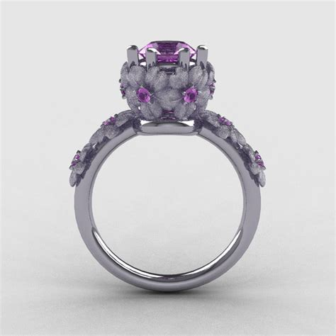 14k White Gold Lilac Amethyst Flower Wedding Ring. Candere Rings. Artistic Wedding Rings. Little Hand Wedding Rings. Plated Wedding Rings. Man's Wedding Wedding Rings. Amethyst Side Stone Engagement Rings. Engagement Tacori Rings Engagement Rings. Black Onyx Rings
