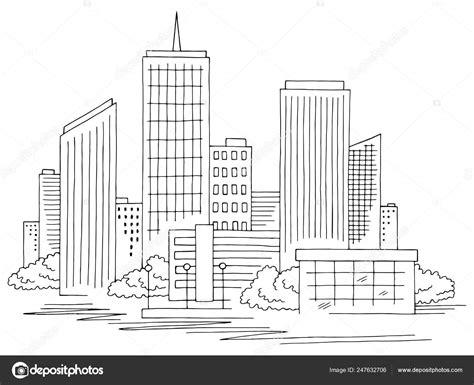 cidade grafica preto branco paisagem urbana desenho