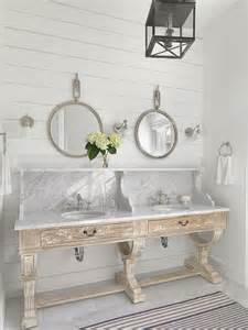 Distressed Bathroom Vanity Diy by Whitewashed Distressed Dual Washstand With Marble