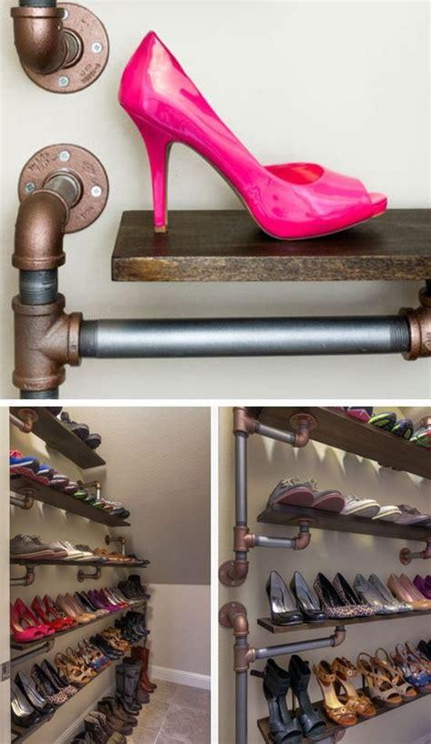 diy shoe storage ideas  small spaces iron pipe