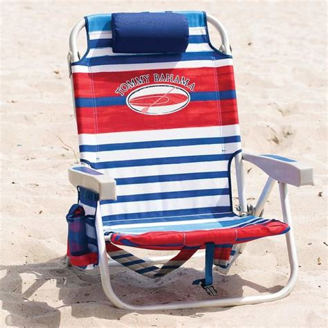 tommy bahama backpack folding beach chair  red blue