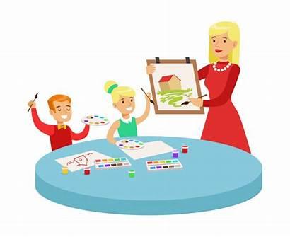Cartoon Class Drawing Lesson Teacher Children Classes