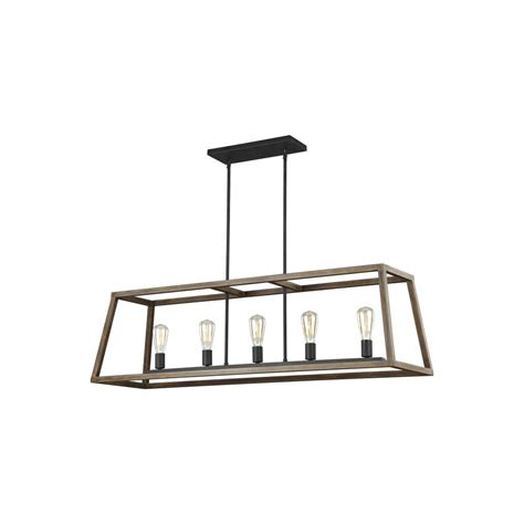 in kitchen light feiss gannet 50 in w 5 light weathered oak wood and 4287
