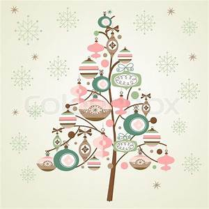 Cute Christmas Tree And Snowflakes