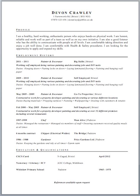 Exle Of Cv For by Uk Resume Format Free Excel Templates