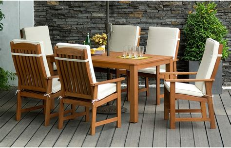 parsons 6 seater wooden garden dining set with cushions