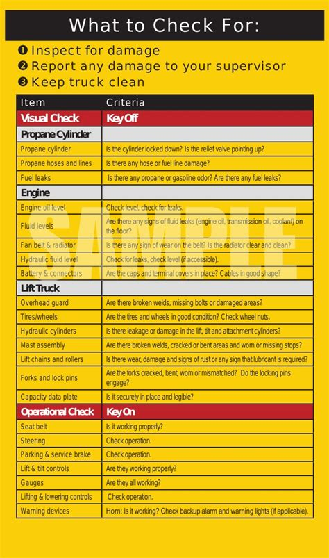 forklift safety inspection checklist book  equipment log