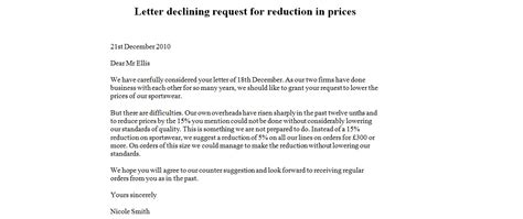 write  letter rejecting price reduction request