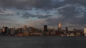 Cloudy Day, New York City NYC Skyline, Red Dark Sunset ...
