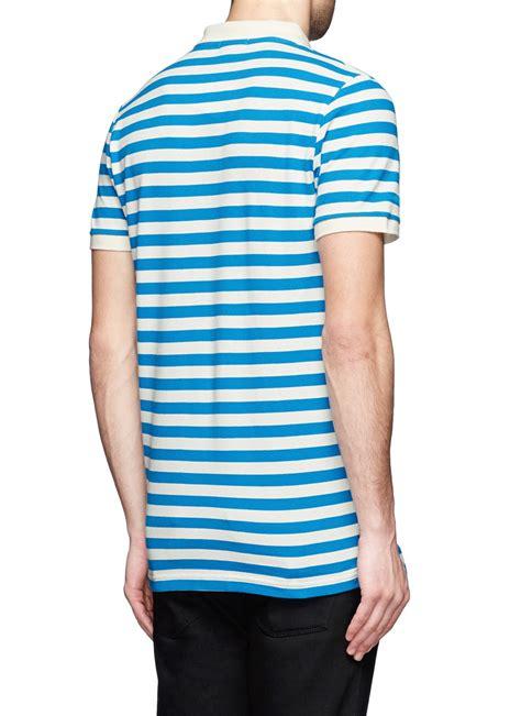 patches stripe blue shirt lyst maison kitsuné fox patch stripe polo shirt in blue