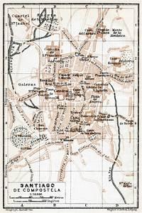 Old Map Of Santiago De Compostela In 1913  Buy Vintage Map