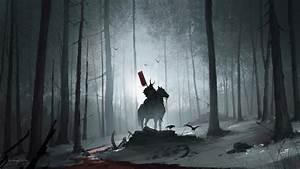 Wallpaper of Blood, Dark, Forest, Horse, Samurai, Warrior