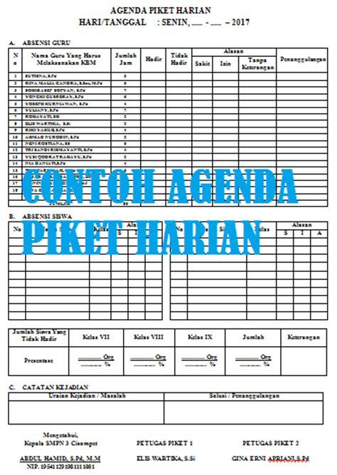 format agenda piket harian guru  siswa  sekolah versi
