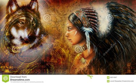 dollar collage  indian woman warrior  wolf