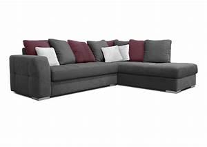 acheter votre canape d39angle coussins jetes gris blanc et With tapis exterieur avec tissu pour jeté de canapé