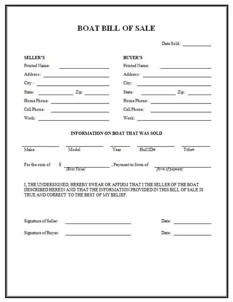 boat bill  sale form templates formats examples