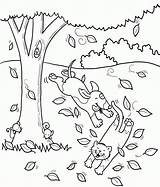 Coloring Pages Cat Dog Fall Tree Playing Dogs Cats Autumn Printable Popular Library Clipart Coloringhome sketch template