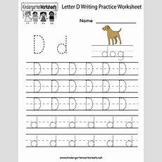 Kindergarten Letter D Writing Practice Worksheet Printable  D Is Forletter Of The Week