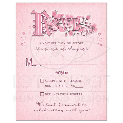Whimsical Fairy Tale Floral Wedding RSVP Card Pink and