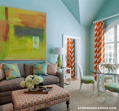 orange chevron curtains contemporary living room