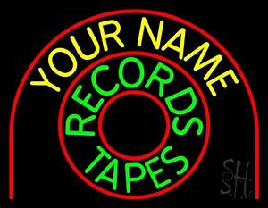 Custom Records Tapes Neon Sign