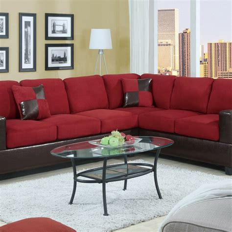 Microfiber Sofa Couch Sectional Sofa Red Sectional Couch 2