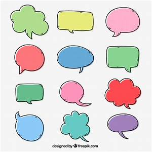 Set of hand drawn comic colored speech bubbles Vector ...
