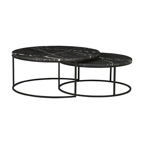 The combination is the epitome of approachable glamour, within a versatile footprint that's beautiful in both roomy and cozy spaces: Elle Round Marble Nest Coffee Tables - Matt Black & Black ...