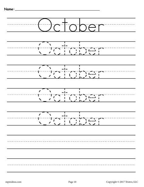 12 Free Handwriting Worksheets  Months Of The Year! Supplyme