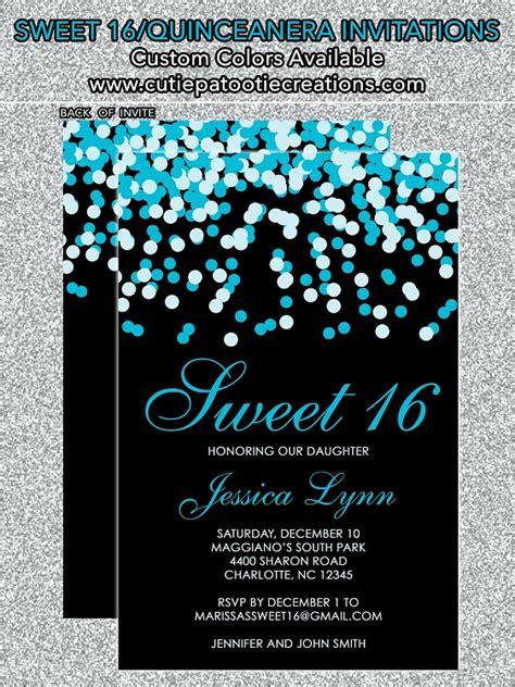 Tiffany Blue Blacknfetti Sweet  Ee   Ee   Invitations