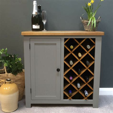 Wine Cupboard Furniture grey painted oak wine rack storage drinks cabinet wine