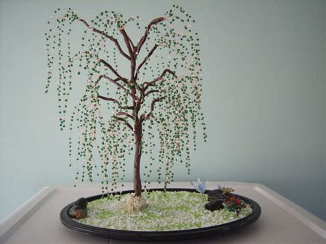 beaded trees  wire tree beadwork  wirework  cut