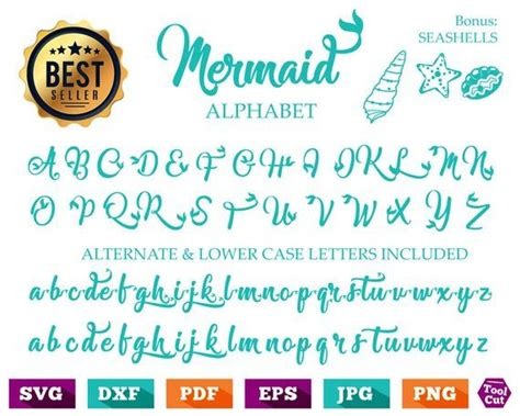 mermaid monogram font svg mermaid alphabet svg fish tail initials svg fish tail monogram font