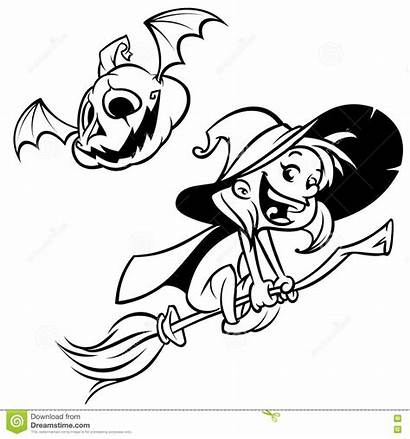 Cartoon Witch Halloween Broom Outlines Coloring Silhouette